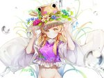 1girl absurdres bangs blonde_hair blue_flower blush bottomless breasts brown_headwear commentary eyebrows_visible_through_hair flower frills frog groin hand_on_headwear hands_up hat hat_flower highres hon_(neo2462) leaf lily_pad long_hair long_sleeves looking_at_viewer medium_breasts moriya_suwako navel out-of-frame_censoring pink_flower purple_flower purple_vest shirt sidelocks simple_background smile solo stomach touhou vest water water_drop white_background white_shirt wide_sleeves yellow_eyes