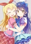 2girls aikatsu! aikatsu!_(series) animal_ears bad_id bad_pixiv_id bangs blonde_hair blue_hair blush bow bunny_ears company_connection crossover earrings fake_animal_ears from_side gloves hair_between_eyes hair_bow hairband hoshimiya_ichigo hug jewelry k@ito90p long_hair looking_at_viewer love_live! love_live!_school_idol_festival love_live!_school_idol_project multiple_girls open_mouth ribbon short_sleeves simple_background smile sonoda_umi sunrise_(company) trait_connection white_gloves yellow_eyes