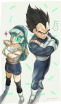 1boy 1girl alternate_costume aqua_hair armor back-to-back black_eyes black_hair blue_hairband blush boots bra_(dragon_ball) capsule_corp commentary_request crossed_arms dragon_ball dragon_ball_z father_and_daughter from_above frown full_body gloves grey_background hairband leg_warmers long_hair looking_at_another looking_back morinokinoko_db nervous older scouter serious shadow short_hair simple_background skirt smile sparkle speech_bubble spiked_hair standing sticker sweatdrop tail translation_request twitter_username v v-shaped_eyebrows vegeta white_gloves