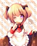 1girl ;o alternate_costume apron azur_lane bangs black_bow blush bow brown_dress chocolate chocolate_heart commentary_request diagonal-striped_background diagonal_stripes dotted_line dress enmaided eyebrows_visible_through_hair fingernails food frilled_apron frills hair_between_eyes hair_bow haru_ichigo heart holding holding_food long_sleeves looking_at_viewer maid maid_apron maid_headdress norfolk_(azur_lane) one_eye_closed parted_lips purple_eyes red_neckwear shirt sidelocks skirt_hold sleeveless sleeveless_dress solo star striped striped_background twitter_username two_side_up white_apron white_shirt