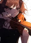 1girl brown_hair clenched_teeth collarbone crying crying_with_eyes_open floating_hair highres holding holding_instrument instrument long_hair music original playing_instrument sleeves solo sweat tears teeth ume_ryou upper_body violin white_background