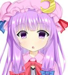 1girl :o animated blinking blue_bow blue_ribbon blush bow commentary_request crescent crescent_moon_pin eyebrows_visible_through_hair hair_bow hat hat_ribbon long_hair open_mouth patchouli_knowledge purple_eyes purple_hair red_bow red_neckwear red_ribbon ribbon simple_background solo touhou ugoira upper_body very_long_hair white_background yukinya