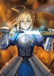 1girl ahoge armor armored_dress artoria_pendragon_(all) blonde_hair captain_an commentary_request excalibur fate/grand_order fate/stay_night fate_(series) faulds gauntlets glowing glowing_sword glowing_weapon green_eyes highres holding holding_sheath holding_sword holding_weapon plackart saber sheath solo sword unsheathing weapon