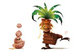 egg exeggcute exeggutor frown no_humans open_mouth piper_thibodeau pokemon signature smile tree white_background