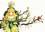 1boy 1girl 38kb_(38shiki) age_difference atelier_(series) atelier_ayesha ayesha_altugle back-to-back blonde_hair blush bow branch dress facial_hair flower glasses gloves green_skirt grey_hair hair_bow hair_flower hair_ornament hands_clasped hat holding_hand keithgrif_hazeldine long_hair looking_back mustache ornament profile red_rose ribbon rose skirt smile tree_branch yellow_eyes