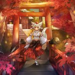 1girl animal_ears breasts detached_sleeves hat inubashiri_momiji large_breasts midriff navel pom_pom_(clothes) red_eyes revision sandals settyaro short_hair shrine side_slit skirt smile solo tail tokin_hat torii touhou white_hair white_legwear wolf_ears wolf_tail