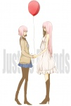 2girls bad_id bad_pixiv_id balloon balordo boots closed_eyes dual_persona hair_ribbon high_heels highres holding_hands just_be_friends_(vocaloid) long_hair megurine_luka multiple_girls necktie pantyhose pink_hair ribbon school_uniform serafuku shoes short_hair skirt smile time_paradox vocaloid white_skirt