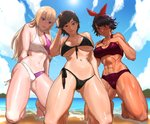 3girls abs absurdres ass_visible_through_thighs backlighting bangs barefoot bikini black_bikini black_hair blonde_hair blue_eyes blue_sky blush breasts brown_eyes brown_hair cleavage dark_skin day earrings from_below front-tie_bikini front-tie_top hairband hand_in_hair highres hime_cut hoop_earrings jewelry josie_rizal kazama_asuka kneeling large_breasts lili_(tekken) long_hair looking_at_viewer medium_breasts multiple_girls muscle muscular_female navel nutro ocean shiny shiny_skin short_hair side-tie_bikini sky strap_gap swept_bangs swimsuit tankini tekken tekken_7 thick_thighs thighs toes toned underboob