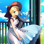 1girl ahoge artoria_pendragon_(all) bag bangs black_ribbon blonde_hair blue_ribbon blue_sky brown_hat cimeri cloud cowboy_shot day dress eyebrows_visible_through_hair fate/stay_night fate_(series) green_eyes hair_between_eyes hair_ribbon hat long_hair neck_ribbon outdoors ribbon saber sidelocks sky sleeveless sleeveless_dress smile solo standing sun_hat sundress sunlight white_dress