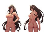 1girl arm_at_side armpits ass back bigrbear breasts brown_eyes brown_hair closed_mouth collarbone commission cowboy_shot dimples_of_venus earrings from_behind hair_over_one_eye hand_on_hip highres jewelry kuroinu_~kedakaki_seijo_wa_hakudaku_ni_somaru~ large_breasts long_hair looking_at_viewer looking_back navel nipples nude origa_discordia pointy_ears profile pubic_tattoo pussy sidelocks simple_background smile stomach tattoo tiara tiata uncensored very_long_hair white_background yellow_eyes