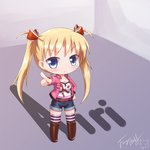 1girl akizuki_airi blonde_hair blue_eyes bow character_name chibi commentary_request langbazi long_hair looking_at_viewer oni_chichi shoes shorts signature solo striped striped_legwear thighhighs twintails zettai_ryouiki