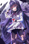 1girl akemi_homura black_eyes black_hair crying crying_with_eyes_open gendo0033 gun handgun holding long_hair looking_at_viewer mahou_shoujo_madoka_magica pantyhose pleated_skirt skirt solo streaming_tears tears torn_clothes torn_pantyhose very_long_hair weapon