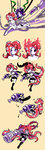 2girls absurdres armor beige_background belt black_hair black_sclera boots breasts closed_mouth clothes_around_waist cross-laced_footwear cyborg eating elbow_gloves fingerless_gloves food fork gloves goggles green_eyes highres holding holding_fork holding_weapon inkzooka_(splatoon) jacket_around_waist knee_boots leg_up medium_breasts midriff multiple_girls nude octarian octoling octoshot_(splatoon) pancake_(zoza) partially_colored red_hair seaweed shorts siblings sisters sitting splatoon splatoon_1 standing standing_on_one_leg stitched takozonesu tentacle_hair third-party_edit transformation waffle waffle_(zoza) wariza weapon wire wrench zoza