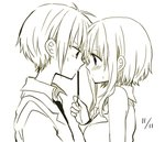 1boy 1girl anzu_(o6v6o) blush dated eye_contact face-to-face food genderswap genderswap_(ftm) gumi gumiya looking_at_another monochrome pocky pocky_day short_hair short_hair_with_long_locks sidelocks simple_background vocaloid white_background