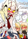 1girl asthma blonde_hair braces coughing eating extra_arms food g=hikorou genderswap general_grievous glasses hair_ornament hairclip inhaler long_hair necktie personification school_uniform star_wars yellow_sclera