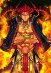 1boy abs adonis_belt bara black_jacket bracer chest_tattoo collarbone crossed_arms dark_skin dark_skinned_male facial_mark fire forehead_mark highres horns ifrit_(tokyo_houkago_summoners) izukonohito jacket jacket_on_shoulders looking_at_viewer muscle navel orange_eyes pointy_ears red_hair solo spiked_hair standing tail tattoo tokyo_houkago_summoners
