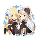 :d ;) alternate_costume ankle_ribbon bare_legs bare_shoulders black_bow black_dress black_footwear black_gloves black_legwear black_ribbon blonde_hair blue_eyes bow braid chibi dress fate/apocrypha fate/grand_order fate_(series) flower formal gloves hair_flower hair_ornament hair_ribbon hand_on_another's_arm highres jeanne_d'arc_(fate) jeanne_d'arc_(fate)_(all) jewelry long_hair looking_at_viewer marie_antoinette_(fate/grand_order) neck_ribbon necklace no-kan off_shoulder one_eye_closed open_mouth outstretched_hand purple_eyes reaching ribbon side_slit silver_hair simple_background sleeveless sleeveless_dress smile thighhighs twintails white_background zettai_ryouiki
