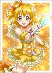 1girl :d blonde_hair boots bow choker collarbone cure_pine dress earrings eyebrows_visible_through_hair fresh_precure! hair_bow hanzou heart heart_earrings highres holding jewelry layered_dress leg_up magical_girl open_mouth orange_bow orange_eyes orange_footwear outstretched_arm precure shiny shiny_hair short_dress side_ponytail sleeveless sleeveless_dress smile solo standing standing_on_one_leg wrist_cuffs yamabuki_inori yellow_dress