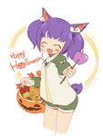 1girl animal_ears blush_stickers bow cat_ears cat_tail closed_eyes final_fantasy final_fantasy_xiv hair_bow happy_halloween jack-o'-lantern mao_yu miqo'te open_mouth purple_hair short_hair shorts simple_background solo standing tail