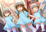 3girls :3 :d >_< ^_^ arm_up blue_dress blush brown_eyes brown_hair character_name closed_eyes commentary dress english eyebrows_visible_through_hair fang flat_cap hair_between_eyes hat hataraku_saibou highres indonesian_commentary kazenokaze long_hair looking_at_viewer middle_finger multiple_girls open_mouth platelet_(hataraku_saibou) pointing short_hair smile thighhighs white_hat white_legwear xd