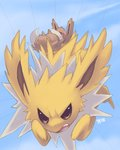 2008 angry blue_background commentary creature eevee falling full_body furrowed_eyebrows gen_1_pokemon glitchedpuppet jolteon lowres no_humans open_mouth pokemon pokemon_(creature) running signature teeth yellow_eyes