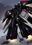 black_selena cloud cloudy_sky commentary_request from_below glowing glowing_eyes highres kidou_senkan_nadesico kidou_senkan_nadesico_-_prince_of_darkness mecha no_humans red_eyes sky solo tyuuboutyauyo weapon