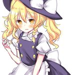 1girl alternate_hairstyle apron bad_id bad_pixiv_id blonde_hair blush bow braid collared_shirt commentary d: dress fang hat hat_bow highres kirisame_marisa long_hair open_mouth playing_with_own_hair rbtt shirt side_braid single_braid sketch solo touhou twintails twintails_day waist_apron wavy_hair witch_hat yellow_eyes