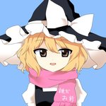 1girl :d blonde_hair brown_eyes hat hidden_star_in_four_seasons kirisame_marisa legacy_of_lunatic_kingdom meme open_mouth pink_scarf scarf short_hair smile solo touhou translated witch_hat yururi_nano