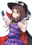 1girl absurdres black_cape black_headwear bow brown_eyes brown_hair cape card commentary_request cowboy_shot e.o. eyebrows_visible_through_hair fedora glasses gloves hands_up hat hat_bow high_collar highres holding holding_card long_sleeves looking_at_viewer low_twintails plaid plaid_skirt plaid_vest pleated_skirt purple_skirt purple_vest red-framed_eyewear shirt short_hair simple_background skirt skirt_set smile solo touhou twintails usami_sumireko vest white_background white_bow white_gloves white_shirt