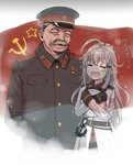 1boy 1girl ahoge anchor belt black_gloves closed_eyes cnm crying facial_hair facial_scar fading gangut_(kantai_collection) gloves grey_hair hair_ornament hairclip hand_on_another's_head hat hat_removed headwear_removed highres joseph_stalin kantai_collection long_hair military military_hat military_uniform mustache old_man open_mouth real_life scar scar_on_cheek smile soviet_flag star tears translated transparent trembling uniform white_coat