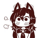 1girl =3 animal_ears bangs blush breasts brooch chibi commentary crossover dress hair_between_eyes imaizumi_kagerou jewelry komi-san_wa_komyushou_desu long_hair long_sleeves looking_at_viewer lowres medium_breasts monochrome simple_background solo touhou upper_body very_long_hair white_background wolf_ears wool_(miwol)