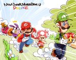 /\/\/\ 2girls 3boys blonde_hair blue_eyes blue_sky braid brown_hair chasing cloud copyright_name crying dress emphasis_lines facial_hair fleeing flower gloves green_shirt hat long_hair looking_back luigi mario mario_(series) multiple_boys multiple_girls mustache nabbit new_super_mario_bros._u_deluxe nowitsevenhotter overalls princess_peach red_headwear red_shirt running sack shirt sky squinting super_crown sweat toadette twin_braids vest white_gloves