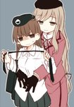 2girls age_difference age_regression angry beret black_gloves black_hat black_jacket black_neckwear black_skirt brown_eyes brown_hair closed_mouth cowboy_shot dress_shirt emblem formal frown fud girls_und_panzer gloom_(expression) gloves grey_background half-closed_eyes hat high_collar holding_necktie hug hug_from_behind jacket jacket_removed light_brown_eyes light_brown_hair medium_skirt miniskirt multiple_girls neck_ribbon necktie necktie_removed nishizumi_shiho pleated_skirt purple_jacket purple_skirt ribbon selection_university_military_uniform shimada_chiyo shirt simple_background skirt skirt_suit suit sweatdrop untucked_shirt v-shaped_eyebrows white_shirt wing_collar younger