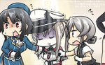 3girls animalization beret black_gloves black_hair blonde_hair capelet celtic_knot commentary_request dated flying_sweatdrops giving_up_the_ghost gloves graf_zeppelin_(kantai_collection) hamu_koutarou hat highres iron_cross kantai_collection military military_uniform multiple_girls nowaki_(kantai_collection) peaked_cap red_eyes seal shimakaze_(kantai_collection) shimakaze_(seal) short_hair silver_hair sweatdrop takao_(kantai_collection) trembling turn_pale uniform vest white_gloves