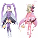 2girls arm_up armpits artist_request bangs boots breasts capelet closed_mouth cosplay dress elize_lutus eyebrows_visible_through_hair fate/kaleid_liner_prisma_illya fate_(series) gloves hair_between_eyes highres illyasviel_von_einzbern illyasviel_von_einzbern_(cosplay) kaleidostick leotard long_hair looking_at_viewer magical_girl magical_ruby magical_sapphire miyu_edelfelt miyu_edelfelt_(cosplay) multiple_girls prisma_illya prisma_illya_(cosplay) simple_background skirt smile sophie_(tales) tales_of_(series) tales_of_graces tales_of_xillia thigh_boots thigh_gap thighhighs twintails white_background