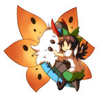 1girl boots bow brown_hair chibi hair_bow highres moja4192 open_mouth pokemon pokemon_(game) pokemon_bw reiuji_utsuho short_hair skirt touhou volcarona wings