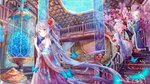 1boy 2girls :d animal architecture bangs bare_shoulders blonde_hair blue_eyes blue_flower blush book brother_and_sister bug butterfly chinese_clothes collarbone commentary_request dress east_asian_architecture eyebrows_visible_through_hair fish flower hair_bun hair_flower hair_ornament hair_ribbon hanfu hatsune_miku highres indoors insect kagamine_len kagamine_rin long_hair long_sleeves multiple_girls open_mouth parted_lips peas_(peas0125) pink_flower railing red_flower ribbon rose shawl siblings silver_hair sitting smile stairs standing strapless tree very_long_hair vocaloid water white_dress white_flower white_rose wide_sleeves