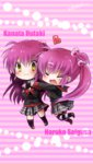 2girls closed_eyes futaki_kanata heart hug little_busters! long_hair miyoshi_yun multiple_girls purple_hair saigusa_haruka school_uniform side_ponytail striped striped_legwear thighhighs yellow_eyes