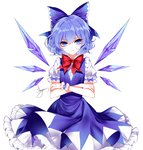 1girl artist_name blue_bow blue_dress blue_eyes blue_hair blue_wings bobby_socks bow bowtie center_frills cirno cowboy_shot crossed_arms dress eyebrows_visible_through_hair hair_between_eyes hair_bow highres ice ice_wings looking_at_viewer petticoat puffy_short_sleeves puffy_sleeves red_bow red_neckwear ribbon_trim sheya shirt short_hair short_sleeves signature simple_background socks solo standing touhou v-shaped_eyebrows white_background white_shirt wings wrist_cuffs
