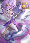1girl absurdres alternate_costume blue_eyes boots breasts chibi_vanille elbow_gloves floating floating_hair gloves head_tilt highres janna_windforce large_breasts league_of_legends long_hair looking_at_viewer magical_girl pointy_ears ponytail purple_hair solo staff star star_guardian_janna thighhighs