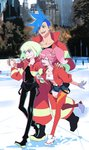 1girl 2boys aina_ardebit blonde_hair blue_hair earrings galo_thymos holding_hands ice_skating jacket jewelry josei_(artist) lio_fotia midriff multiple_boys open_mouth outdoors pants pink_hair promare purple_eyes shorts side_ponytail skating smile thighhighs