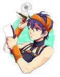 1boy headband jojo_no_kimyou_na_bouken math narancia_ghirga nishiyama_(whatsoy) notepad pen purple_eyes purple_hair solo