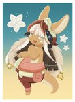 1other :3 animal_ears artist_name blue_background blush eyebrows_visible_through_hair flower full_body furry gradient gradient_background green_eyes highres kawasemi27 looking_at_viewer made_in_abyss nanachi_(made_in_abyss) simple_background smile tail twitter_username white_hair yellow_background