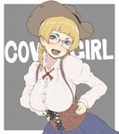 1girl background_text bangs black-framed_eyewear blonde_hair blue_skirt blunt_bangs braid breasts brown_hat collared_shirt commentary corset cowboy_hat english freckles glasses green_eyes grey_background hair_tie hands_on_hips hat head_tilt ina_(gokihoihoi) large_breasts leaning_forward long_hair looking_at_viewer neck_ribbon open_mouth original outside_border over-rim_eyewear red_neckwear ribbon semi-rimless_eyewear shirt skirt smile solo standing suspenders twin_braids twintails upper_body white_shirt