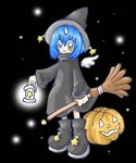 1girl bamboo_broom black_hat blue_hair boots broom eiko_carol final_fantasy final_fantasy_ix green_eyes halloween halloween_costume hat jack-o'-lantern lowres night night_sky pumpkin sky smile solo star wings