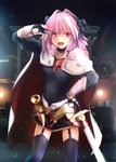 1girl armor astolfo_(fate) belt black_dress black_legwear black_ribbon blurry blurry_background braid cape commentary_request cowboy_shot depth_of_field dress fang fate/apocrypha fate_(series) garter_straps gauntlets gloves hair_intakes hair_ribbon hand_on_hip highres indoors lens_flare long_braid long_hair long_sleeves looking_at_viewer male_focus open_mouth otoko_no_ko purple_eyes ribbon salute short_dress single_braid smile solo standing sword thighhighs tsubasa_(abchipika) v weapon white_cape white_gloves