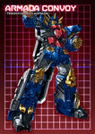 1boy autobot character_name clenched_hand full_body grid grid_background headgear looking_at_viewer machinery mecha no_humans optimus_prime paintedmike red_background red_eyes solo transformers transformers_armada