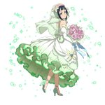 1girl anklet black_hair blue_eyes bouquet bridal_veil closed_mouth detached_sleeves dress flower from_side full_body green_footwear high_heels highres holding holding_bouquet jewelry long_dress long_sleeves looking_at_viewer looking_back mole mole_under_eye official_art pink_flower pink_rose pumps rose sachi shiny shiny_hair short_hair sleeveless sleeveless_dress smile solo sword_art_online transparent transparent_background veil walking white_dress white_sleeves