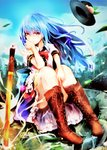1girl absurdres blue_hair boots brown_footwear commentary_request cross-laced_footwear highres hinanawi_tenshi huge_filesize knee_boots lace-up_boots long_hair red_eyes safutsuguon touhou