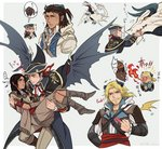 adewale assassin's_creed_(series) assassin's_creed_iii assassin's_creed_iv:_black_flag beard black_hair blonde_hair blue_eyes braid breathing_fire brown_hair carrying censored censored_gesture censored_text connor_kenway drag-on_dragoon dragon dragon_horns dragon_wings edward_kenway facial_hair fire fringe_trim grey_hair hat haytham_kenway heart heart_in_mouth hetero horns kaniehti:io middle_finger native_american pointless_censoring ponytail princess_carry profanity shinzui_(fantasysky7) tricorne wings